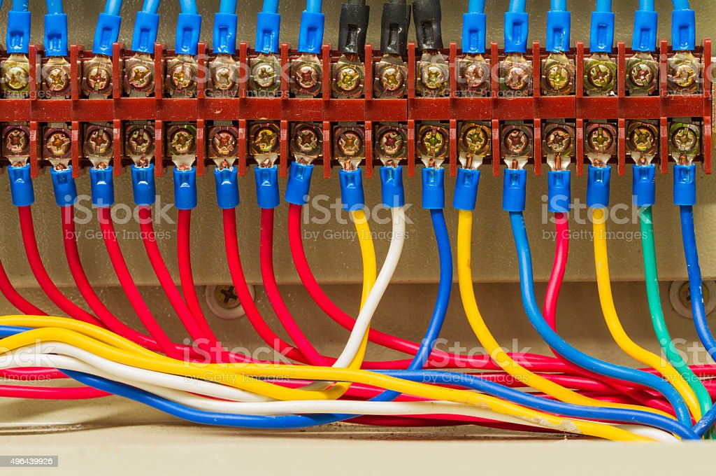 Front side showing colorful electrical wiring stock photo