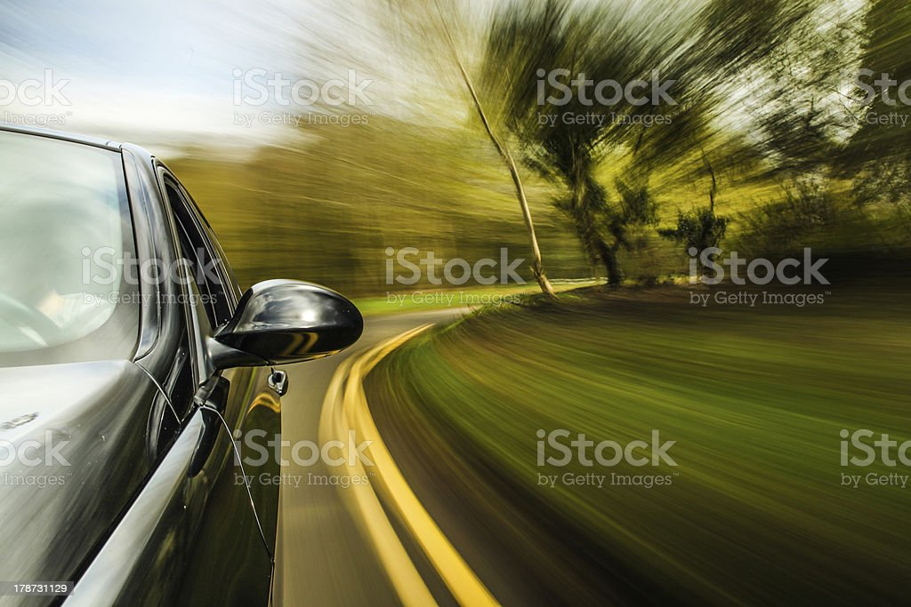 Front side view of black car. royalty-free stock photo