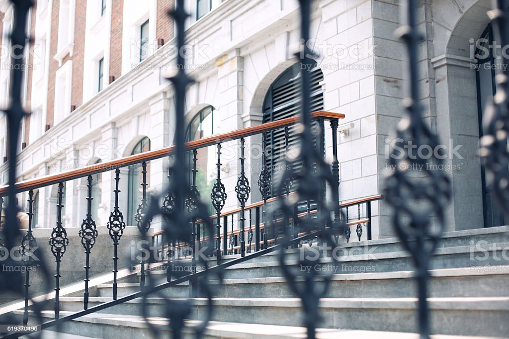 front staircase of the building on the street stock photo