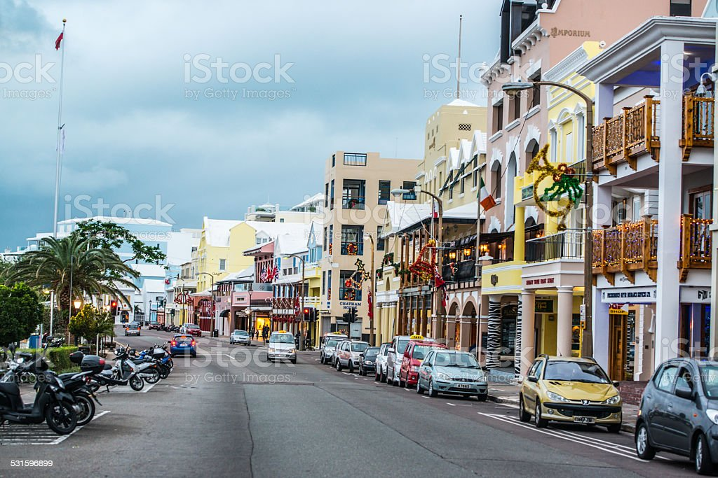Front Street, Hamilton, Bermuda stock photo