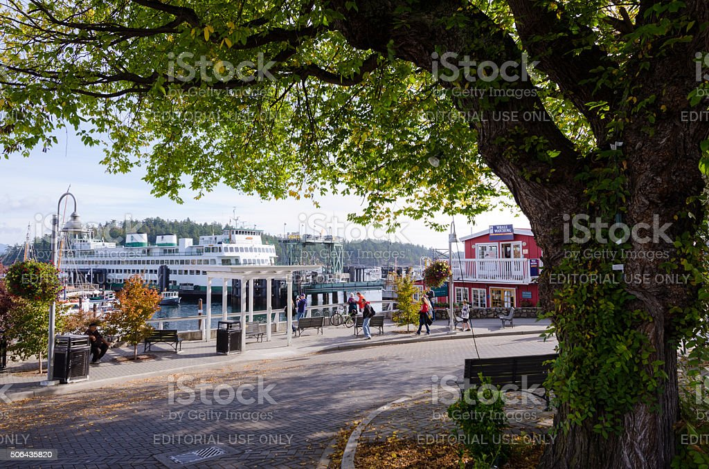 Front Street with Ferry at terminal in Friday Harbor, WA stock photo