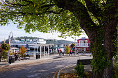 Front Street with Ferry at terminal in Friday Harbor, WA