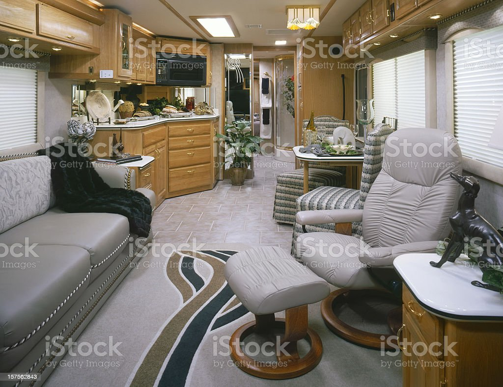 Front to rear view of Motorhome interior royalty-free stock photo