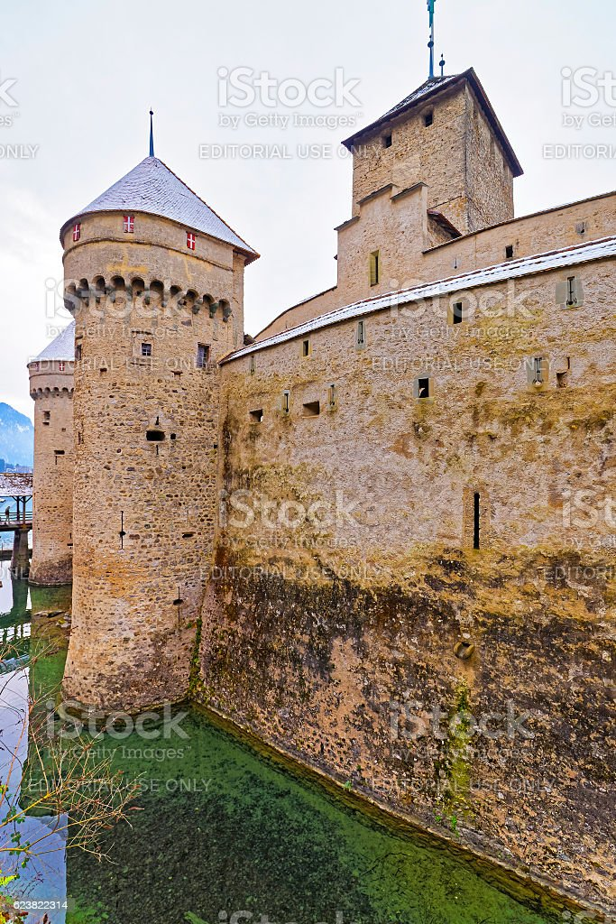 Front tower of Chillon Castle on Lake Geneva in Switzerland stock photo