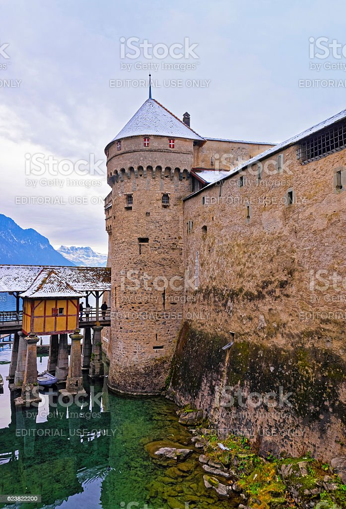 Front towers of Chillon Castle on Lake Geneva in Switzerland stock photo