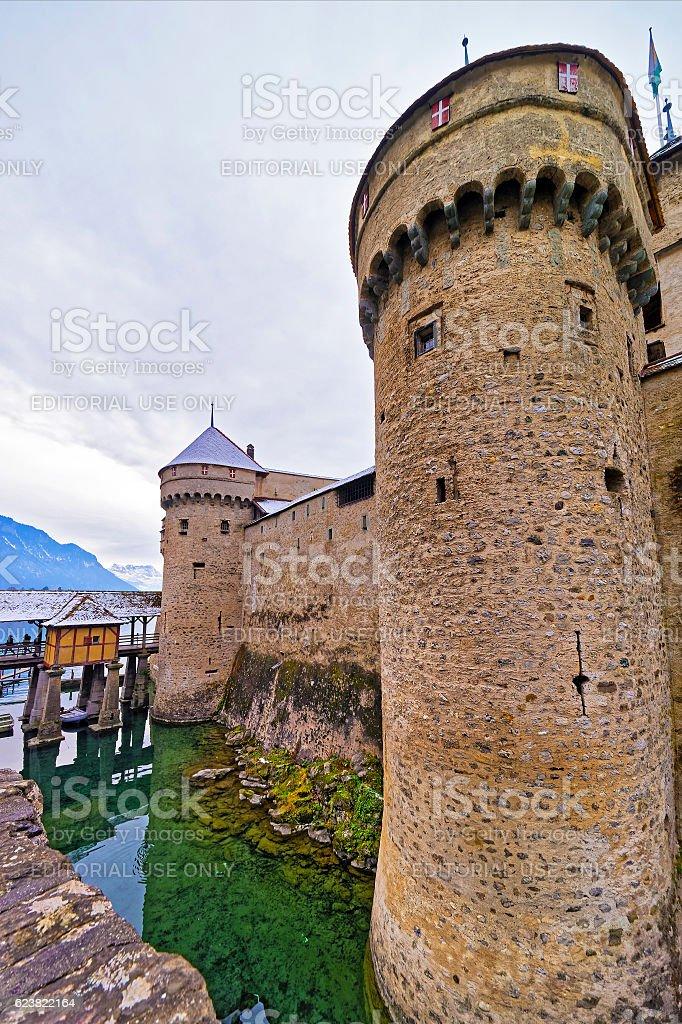Front towers of Chillon Castle on Lake Geneva of Switzerland stock photo