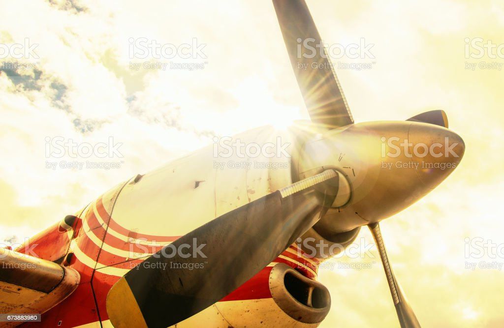Front turbine of airplane close up stock photo