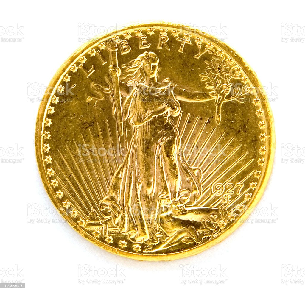 Front US Twenty Dollar St. Gauden Double Eagle Gold Coin stock photo