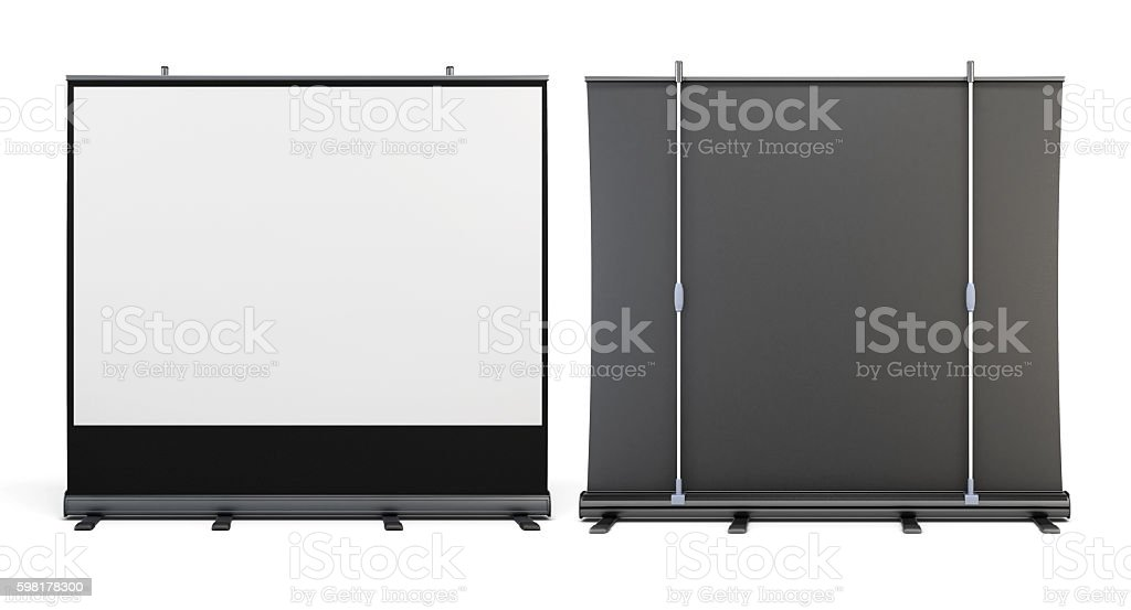 Front view and rear view of the portable screens stock photo