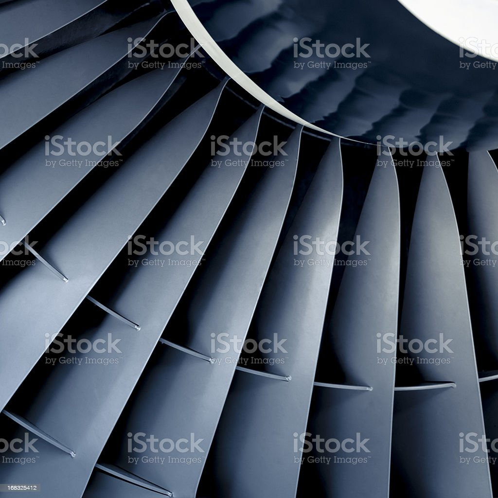 Front view close-up of aircraft jet engine turbine stock photo