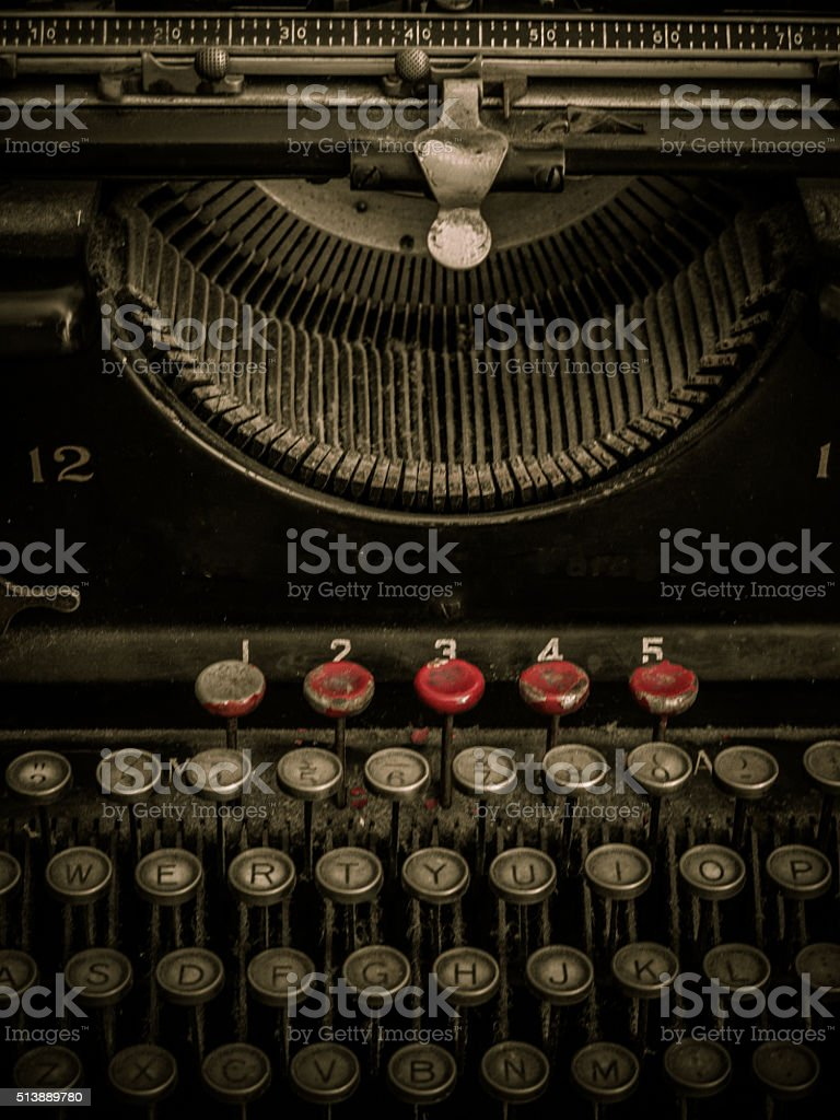 Front view, close-up of old typewriter stock photo