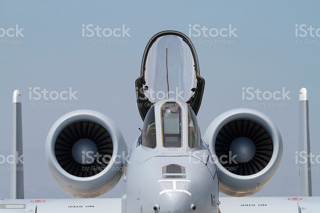 A-10 front view cockpit open stock photo