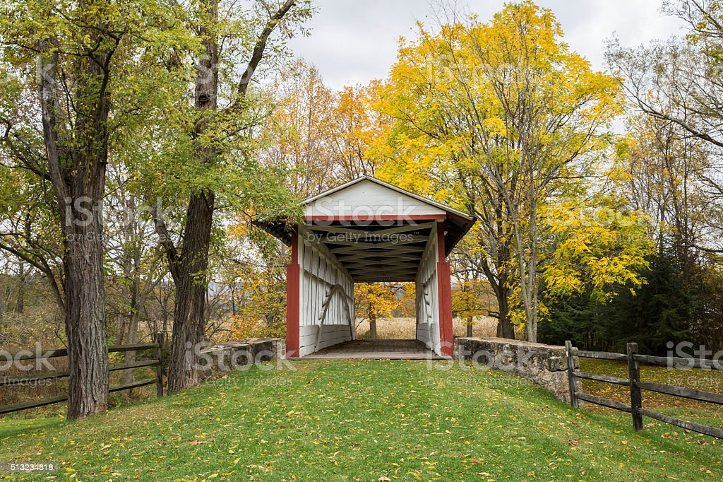 Front View, Dr. Kinsley Covered Bridge Bedford County Pennsylvania stock photo
