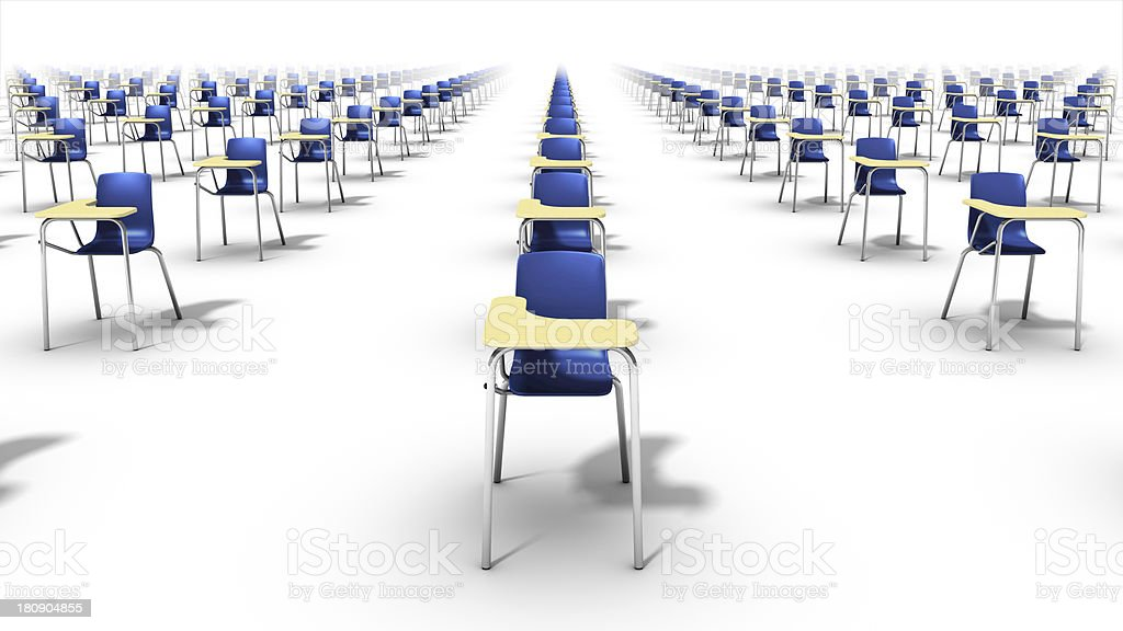 Front view - Endless rows of school chairs. royalty-free stock photo