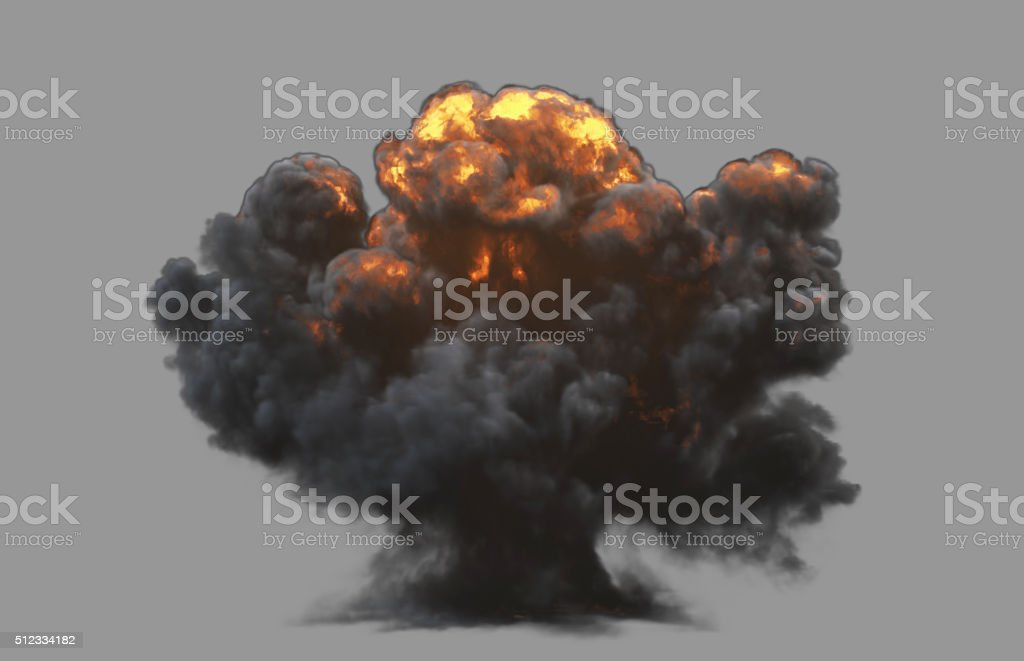 Front view explosion with clipping path stock photo