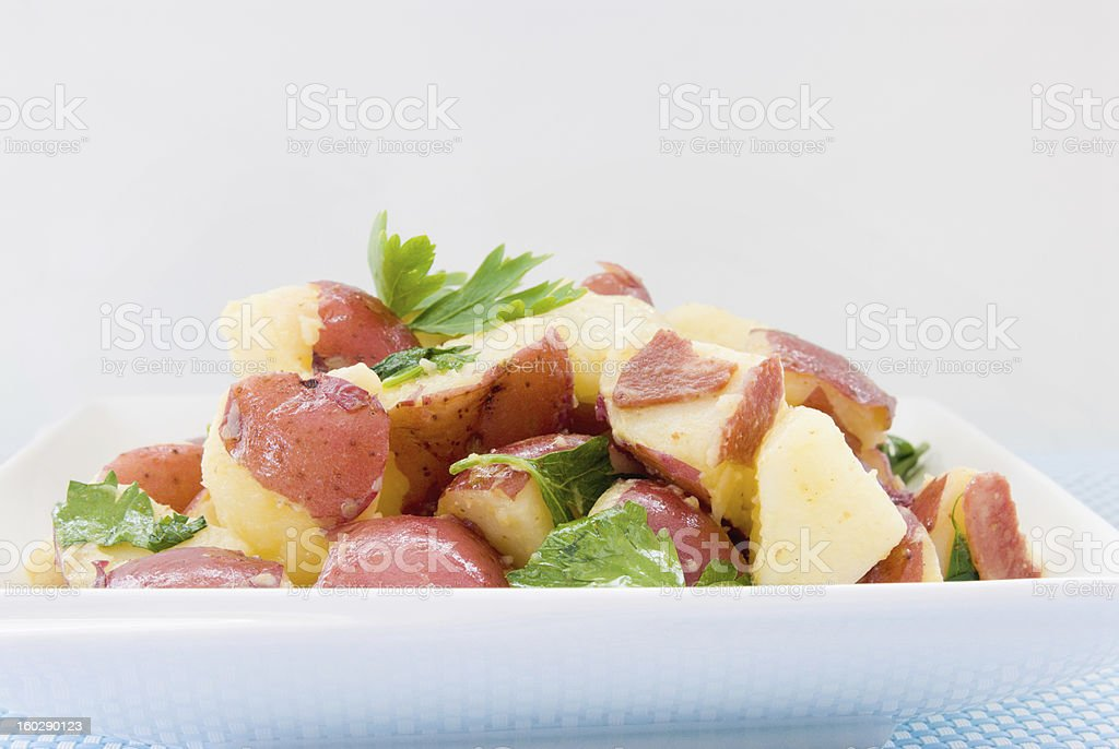 front view healthy new potato salad in a white bowl stock photo