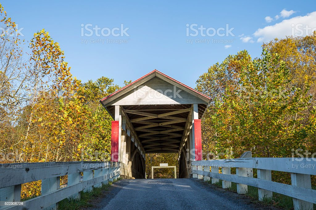 Front View, Hewitt Covered Bridge Bedford County Pennsylvania stock photo