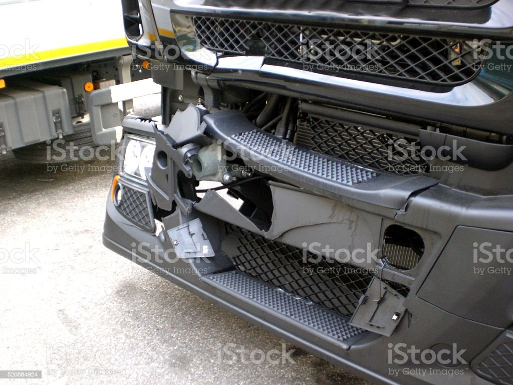Front view modern truck damage stock photo