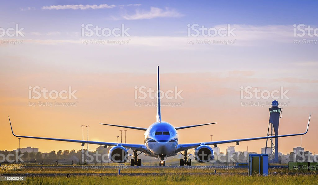 A front view of a airplane about to take off stock photo