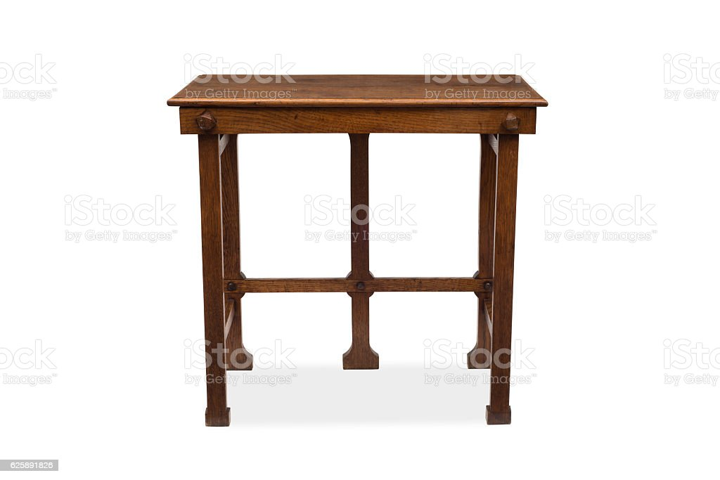 Front View of a Five-Legged Antique Wooden Side Table stock photo