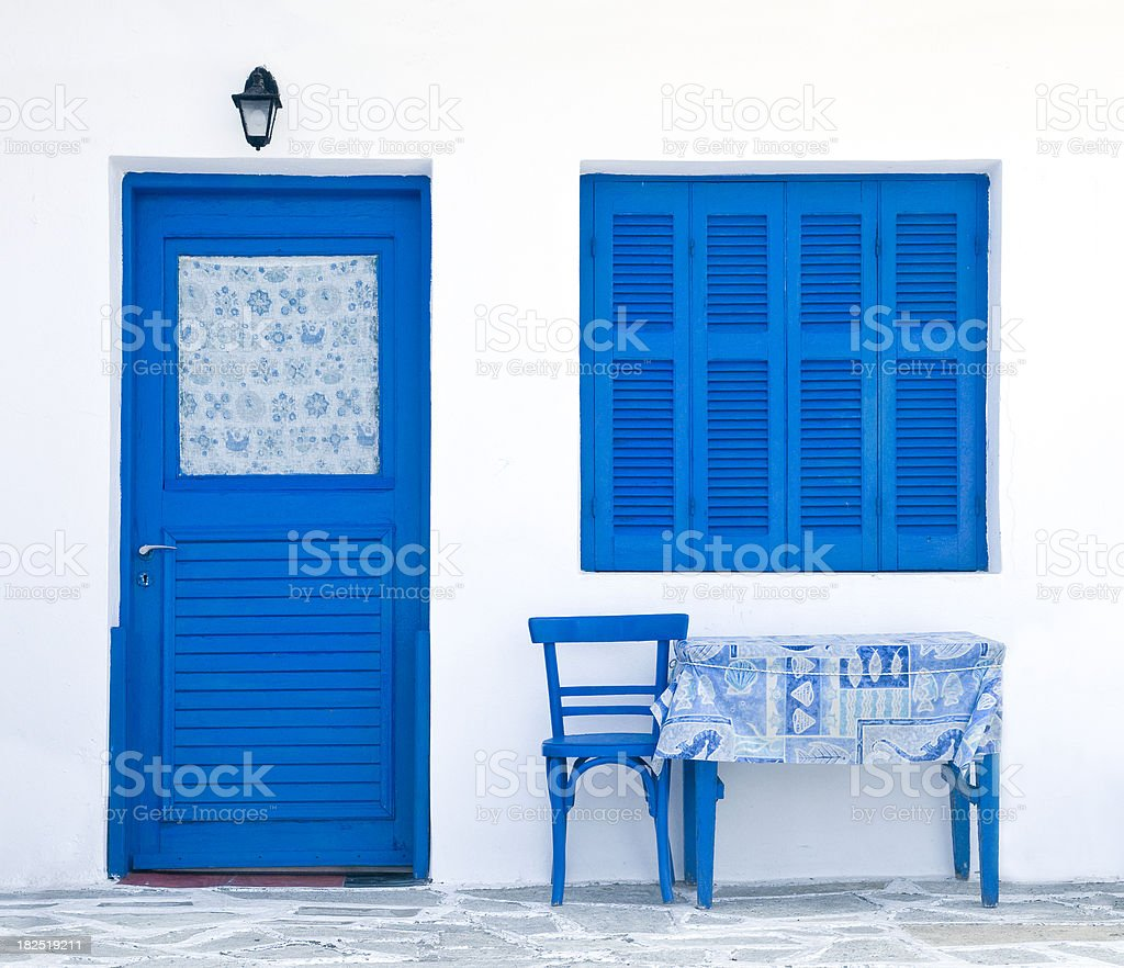 front view of a greek house royalty-free stock photo