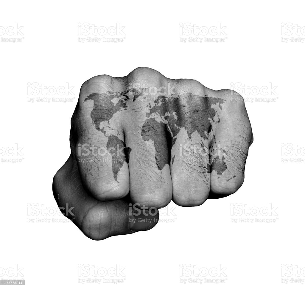Front view of a punching hand royalty-free stock photo