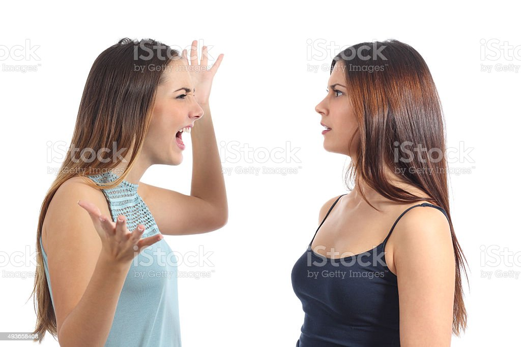 Front view of a scared woman stock photo