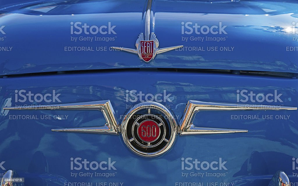 Front view of a Seat 600 car stock photo