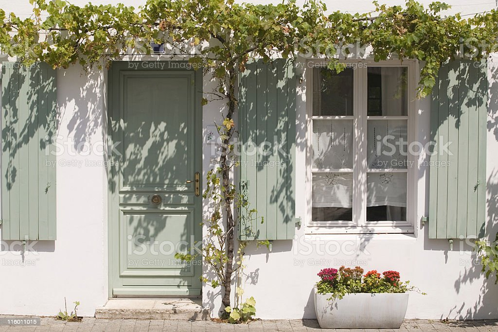 front view of a typical house at Ile de R? stock photo