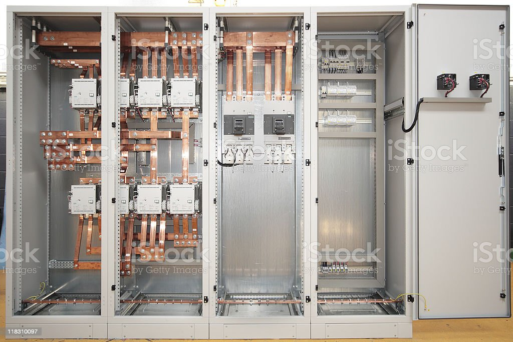 Front view of an electrical switchboard  stock photo