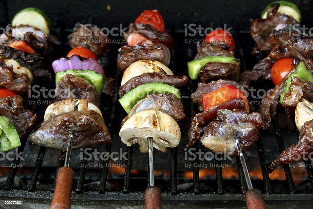 front view of BBQ sticks stock photo