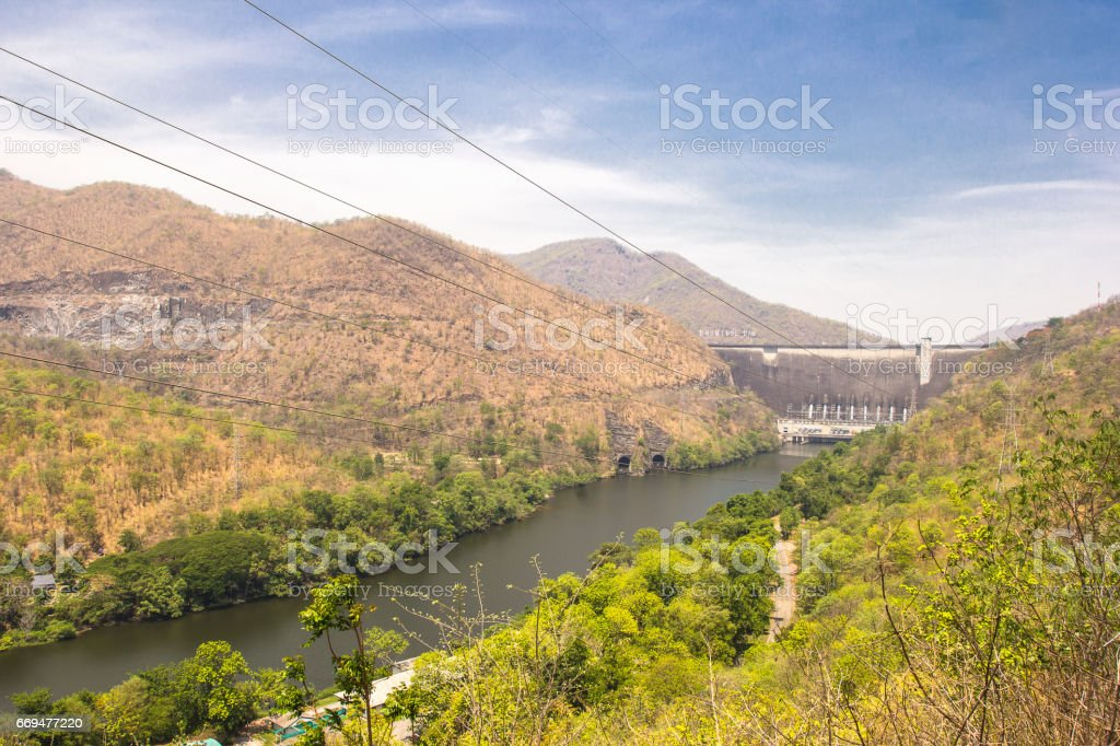 Front view of Bhumibol dam Tak,Thailand. stock photo