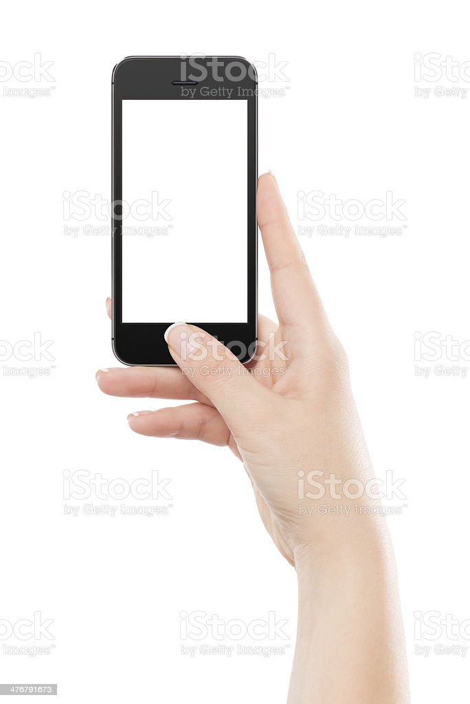 Front view of black mobile smart phone in female hand stock photo