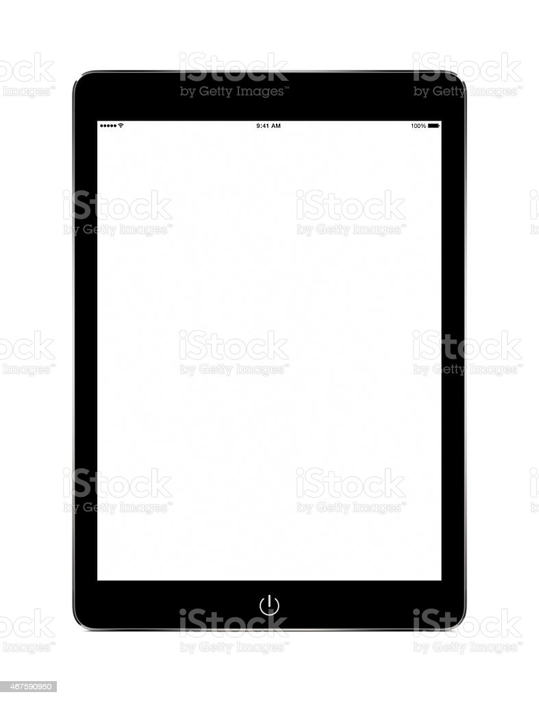 Front view of black tablet computer with blank screen mockup stock photo
