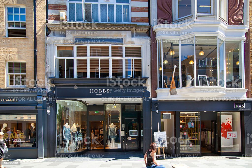 Front view of Bond street boutiques, London stock photo