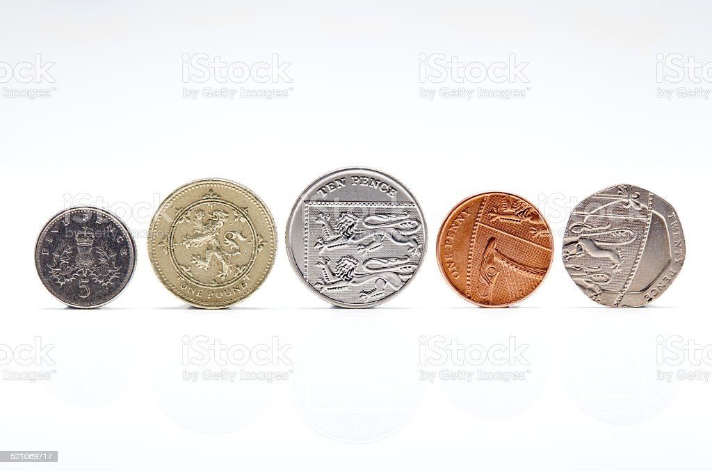 Front view of British Coins isolated on white stock photo