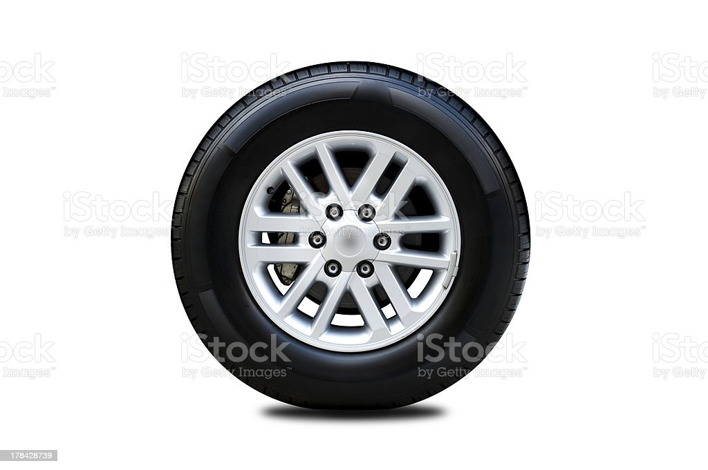 Front view of car tire stock photo