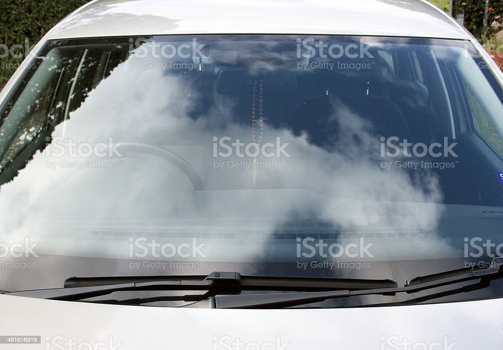Front View Of Car Windshield And Windscreen Wiper Blades stock photo