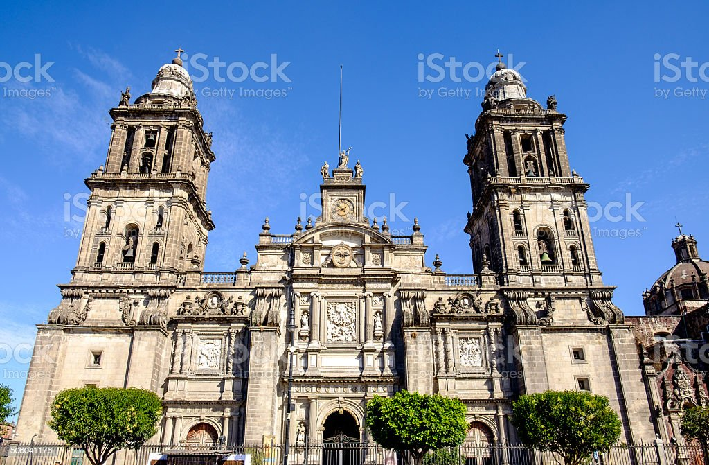 Front view of Cathedral Metropolitana in Mexico city stock photo