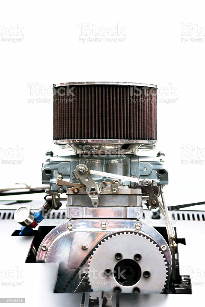 Front view of Chrome Supercharger car engine Hot Rod isolated stock photo