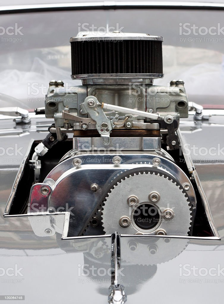 Front view of Chrome Supercharger car engine Hot Rod stock photo