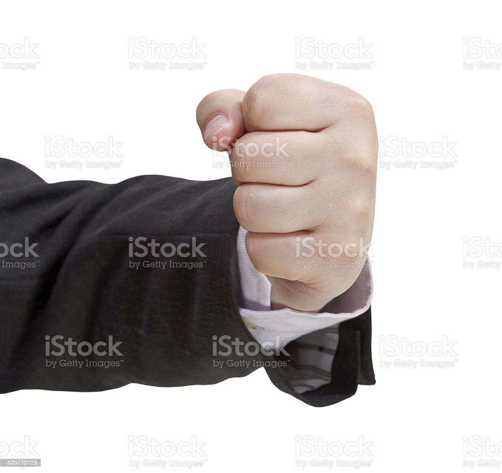 front view of clenched fist - hand gesture stock photo