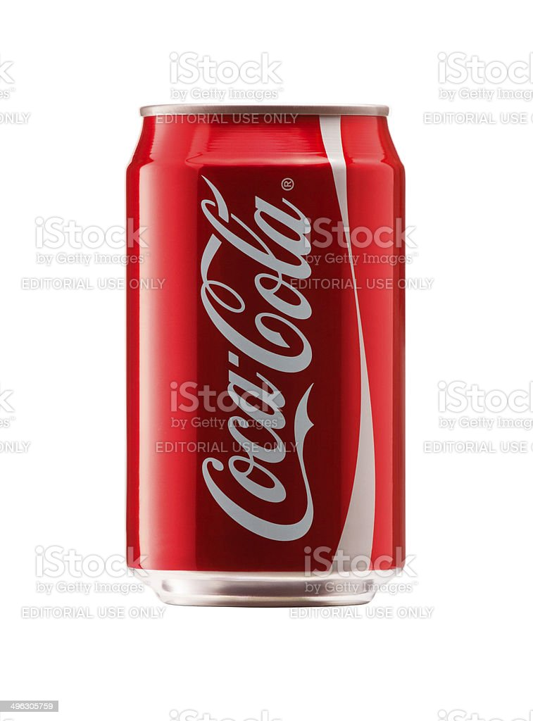 front view of Coca Cola Can royalty-free stock photo