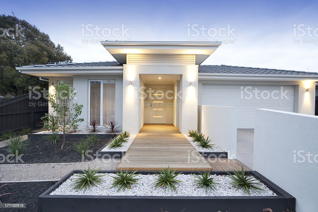Front view of contemporary home in Australia stock photo