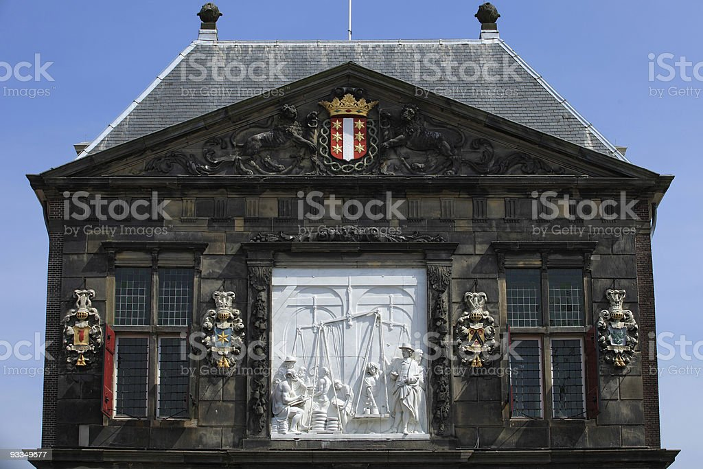front view of De Waag at Gouda royalty-free stock photo