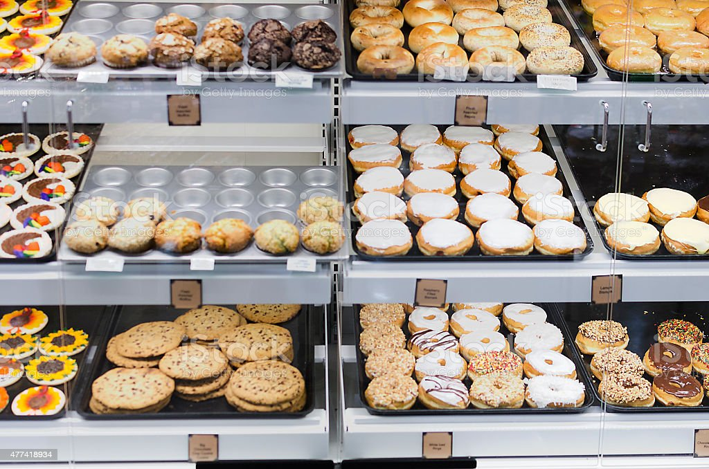 Front View of Donut Selection in Store stock photo