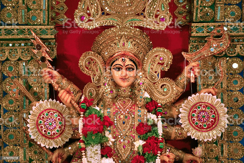 Front view of Durga idol as worshipped by Bengali community stock photo