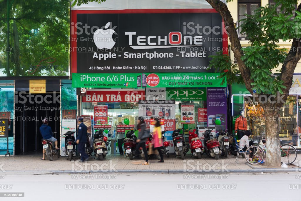 Hanoi, Vietnam - Nov 16, 2014: Front view of electronic store in Hang Bai street. Vietnam become potential high technology product market, seeing many stores risen nowadays stock photo