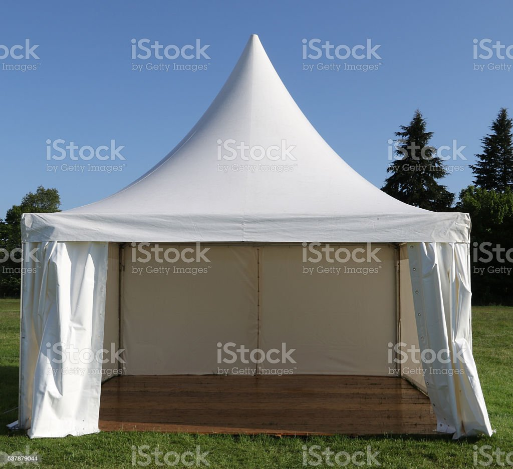 Front View of Empty Tent stock photo