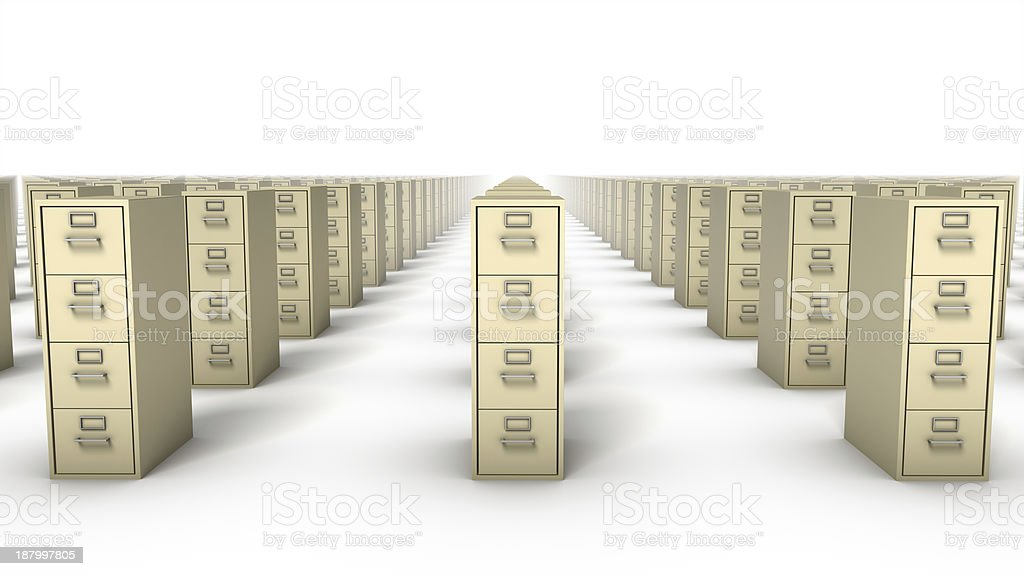 Front view of Endless File Cabinets (Beige) royalty-free stock photo
